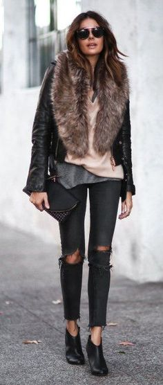 THE JACKET #winter #fashion /  Leather Bomber Jacket / Faux Fur Scarf / Destroyed Skinny Jeans / Leather Booties