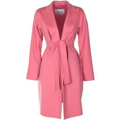 Max Mara  Nancy Fleece Wool and Angora Wrap Coat ($1,255) ❤ liked on Polyvore featuring outerwear, coats, rosa, reversible coats, red wool coat, fleece wrap coat, long sleeve coat and fleece coat