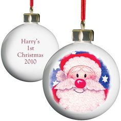 Personalised Santa Red Nose Christmas Bauble  from Personalised Gifts Shop - ONLY £9.99