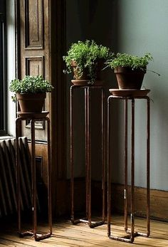 Copper pipe plant stands