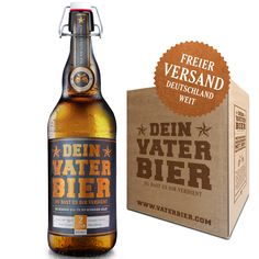 Dieses köstliche Bier, frisch versiegelt mit dem praktischen Bügelverschluss, ist das perfekte Geschenk für den stolzen Vater. Ansprechend designed, auf strukturiertes Papier gedruckt und mit kupferfarbener Heißfolie veredelt – so muss das sein! happy father's Day + father beer + vatertag + geschenk geburt + geschenk vater + vaterbier