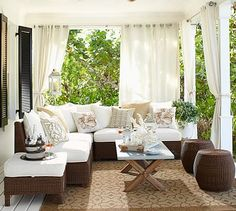 Palmetto All-Weather Wicker Armless Sectional Set - Honey #potterybarn