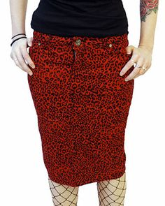 Dark side Red Leopard Pencil Gothic Skirt