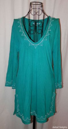 NEW SOFT SURROUNDINGS TOP M Medium Green Knit White Beads Vneck 3/4 Sleeve NWT #SoftSurroundings #KnitTop #Casual