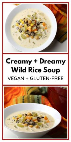 This vegan and gluten-free Creamy + Dreamy Wild Rice Soup is so comforting! Packed with veggies and protein, it's a perfect soup for a cool evening! Vegan Dinner Recipes, Delicious Vegan Recipes, Raw Food Recipes, Soup Recipes, Healthy Recipes, Chickpea Recipes, Chili Recipes, Rice Recipes, Healthy Food