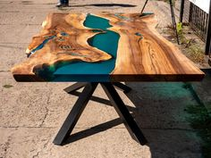 Live edge resin river dining table with turquoise glowing image 7 Coffee Table To Dining Table, Wood Table, A Table, Live Edge Wood, Live Edge Table, Powder Paint, Tung Oil, Resin Table, Etsy Christmas