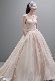 White by Vera Wang Taffeta Ball Gown with Contrasting Tulle Overlay Style VW351233 #davidsbridal #weddingdress #pinkweddings
