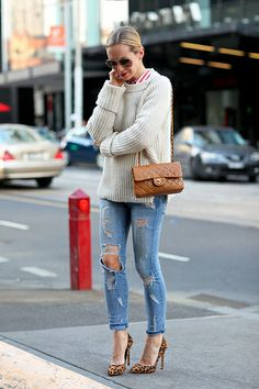 Cozy sweater + ripped skinny jeans