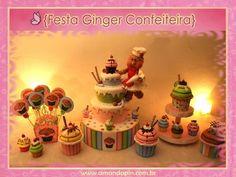Festa cupcake + bolo fake + bolo cenográfico