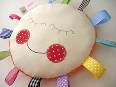 SENSORY PILLOW - Security - lovey - Pillow Baby Hattie Round Rainbow RIBBON Pillow Great Shower Gift - Etsykids