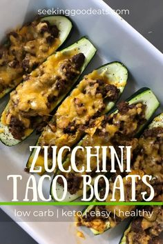 Hypoallergenic Pet Dog Food Items Diet Program You Will Love This Super Easy Healthy Dinner Recipe For Zucchini Taco Boats. This Low Carb And Keto Recipe For Zucchini Taco Boats Is Made Delicious With Flavorful Baked Zucchini, Taco Meat Filling, And Yummy Quick Weeknight Meals, Easy Healthy Dinners, Healthy Dinner Recipes, Low Carb Recipes, Dessert Recipes, Easy Recipes, Healthy Cheap Recipes, Potluck Recipes, Healthy Dishes