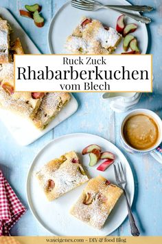 Ruck Zuck Rhabarberkuchen vom Blech! Schneller und einfacher Blechkuchen mit Rhabarber. Wunderbar saftig, fruchtig-sauer und einfach lecker | Rezept: waseigenes.com | #rhabarberkuchen French Toast, Breakfast, Food, Fruit Cakes, Oven, German, Morning Coffee, Essen, Meals