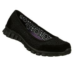 Skechers EZ Flex 2 Sweetpea Womens Slip On Ballet Flats Shoes Black 8 W ** Read more reviews of the product by visiting the link on the image.