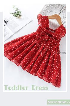Material: Polyester / VoileDresses Length: Knee-Length Sleeve Style: Petal Sleeve Collar: Square CollarFit: Fits true to size, take your normal size Dress Length (in) Bust (in) Height (in) - - - - Baby Girl Frocks, Frocks For Girls, Toddler Girl Dresses, Little Girl Dresses, Toddler Girls, Baby Dresses, New Dress For Girl, Kids Dress Wear, Girls Frock Design
