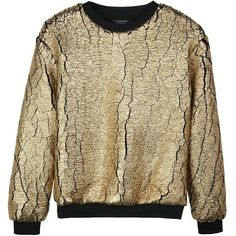 Eleven Paris Foil Print Sweatshirt (779.140 IDR) ❤ liked on Polyvore featuring tops, hoodies, sweatshirts, gold, stretchy tops, brown tops, elevenparis, stretch top and brown sweatshirt