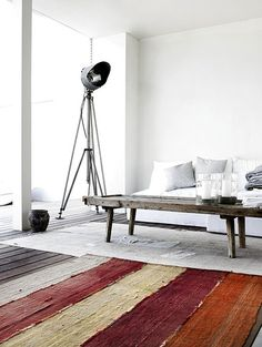 rustic color rug in black/ white interior