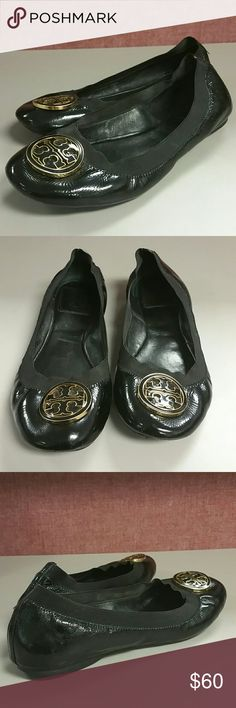 Tory Burch Black Patent Leather Ballerina Flats Cute Black Patent Leather Tory Burch Ballerina Flats, Size 8.5, Black and Gold Tory Burch Hardware, two totally unoticeable small nicks on  the very lower right side of shoe,  its so close to the sole of that it cant be seen unless shoe is turned over, very minor. Shoes look GREAT and are in Excellent condition. Tory Burch Shoes Flats & Loafers