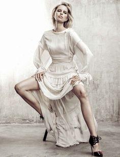 Striking a pose, Karolina Kurkov wears Twinset by Simona Barbieri silk dress for Glamour Magazine Italy November 2016