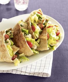 Just Grab & Go:Chicken Caesar salad becomes a healthy sandwich served in whole wheat pitas. Healthy and easy, this recipe only takes 20 minutes to make! Get the recipe for Chicken Caesar Pitas  - GoodHousekeeping.com