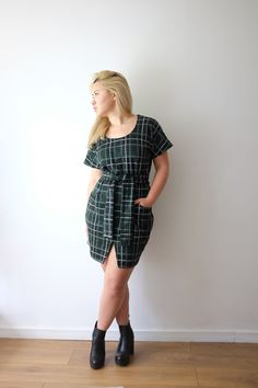 Emily's Bettine dress hack with wrap front skirt - sewing pattern from Tilly and the Buttons