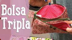 Vamos aprender a costurar uma bolsa tripla. É uma bolsa, que pode fazer de vários tamanhos e que é composta por três compartimentos separados.