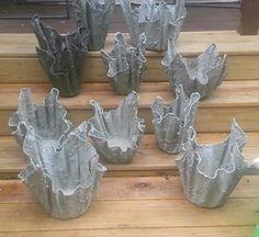 Draped hypertufa planters from thehypertufagardener.com