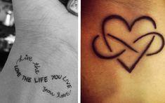 Palavras e outros desenhos podem fazer da sua tatuagem de infinito mais criativa Dbz, Tatoos, Tatting, Piercing, Tattoo Ideas, Beauty, Cool Tattoos, Infinity Symbol, Word Tattoos
