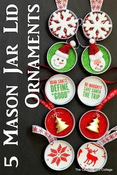 5 Mason Jar Lid Ornaments -- turn those mason jar lids into fun ornaments with these ideas!