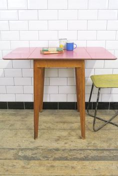 Vintage Mid Century Red Formica Kitchen Drop Leaf Dining Table