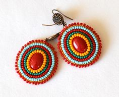 Red and Turquoise Bead Embroidered Earrings Rainbow Earrings - seed bead embroidery earrings