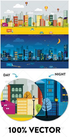 City of Day and Night #GraphicRiver All of them are 100% vectors easy to modify. Change the colors, re-size and modify the shapes in any way you want. You have 2 options (day & night)to adapt the theme for all activities. If you like my theme, don't forget to rate it 5 stars. Created: 1 December 13 Graphics Files Included: JPG Image #Vector EPS #AI Illustrator Layered: No Minimum Adobe CS Version: CS Tags architecture #art #background #balloon #building #cartoon #city #day #home #house…