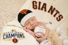 San Francisco Giants Baby Beanie in Black with by babyknitsnfrills