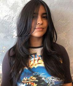 Layered Haircuts With Bangs, Long Hair With Bangs, Haircuts For Long Hair, Long Hair Cuts, Straight Hairstyles, Layered Hairstyle, Haircut Long Hair, Medium Haircuts, Long Dark Hair