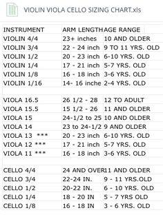 Sizing Chart for Violin, Viola, Cello