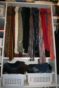 Install a tension rod in the closet and use scarves to create a 'curtain' effect in front of items stored on shelves. Belt Storage, Scarf Storage, Dream Bedroom, Home Bedroom, Organization Ideas, Storage Ideas, Closet Vanity, Scarf Ideas, First Apartment