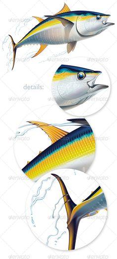 Yellowfin tuna — Vector EPS #sea #sprays • Available here → https://graphicriver.net/item/yellowfin-tuna/1969863?ref=pxcr