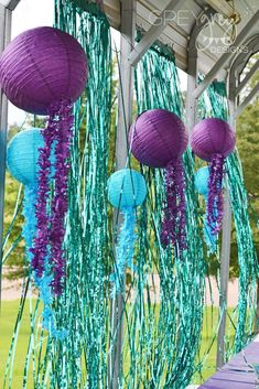 Loving the decorations at this Mermaid Birthday Party! See more party ideas and share yours at CatchMyParty.com #mermaid #decorations