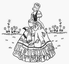 Vintage Embroidery Designs Embroidery Pattern of Vintage Woman from Vintage Spice and Everything Nice: August jwt Embroidery Transfers, Embroidery Patterns Free, Hand Embroidery Designs, Vintage Embroidery, Embroidery Applique, Cross Stitch Embroidery, Machine Embroidery, Modern Embroidery, Lazy Daisy Stitch
