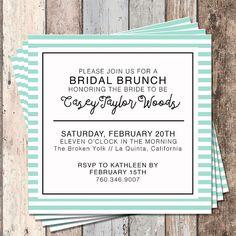 Bridal Brunch Invitation-Bridal Shower-Invitation-PIY-Printable-Bridal Invite-Mint-Stripes-Wedding-Bridal Brunch-Bridal Shower Invite-Custom