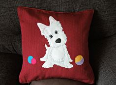 "Dog, scottie cushion, pillow cover ""Wheaten Scottie, white Scottish Terrier dog"", handmade, appliqued, pet, animal"