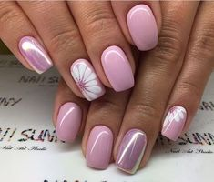 ideas for nails sencillas gelish Trendy Nails, Cute Nails, My Nails, Glitter Nails, Pink Glitter, Flower Nail Designs, Nail Designs Spring, Easter Nail Designs, Short Square Acrylic Nails