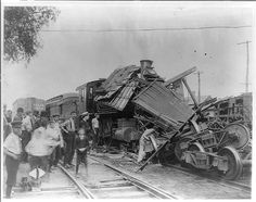 1 photographic print.   Photograph shows the wreckage of a railroad train after…