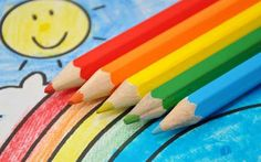 Colorful Drawing: Smiling Sun, Rainbow, Blue Sky Stock Image - Image of colorful, enjoyable: 14270279 Rainbow Photo, Resource Room, Colorful Drawings, Raising Kids, Special Education, All The Colors, Royalty Free Stock Photos, Pencil, Sky