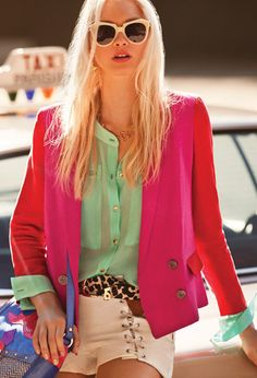 neon colors|| mint shirt + pink blazer with red sleeves + leopard belt + white shorts #street #city #outfit
