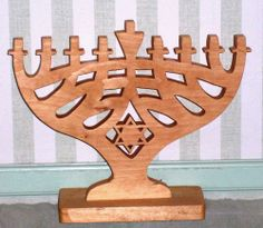 Handmade wooden Chanukah menorah