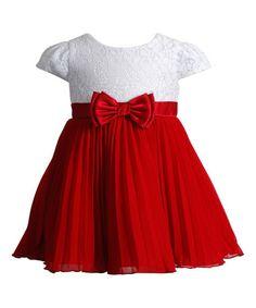 Love this Red & White Pleat Bow-Waist Dress - Infant, Toddler & Girls on #zulily! #zulilyfinds