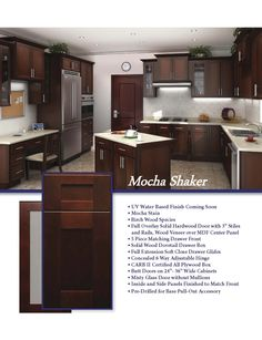 Mocha shaker cabinets with stainless steel rod handles for Kitchen remodeling round rock
