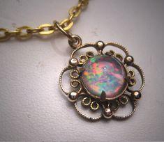 Antique diamond filigree necklace vintage art deco 1920s 14k white antique australian opal pendant necklace vintage art deco 1930 gold mozeypictures Choice Image