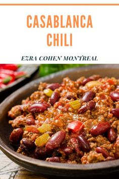 This Casablanca Chili recipe comes with a twist! Adding nut butter creates a hearty, healthy dish to satisfy the whole family. Ground Beef Chili, Ground Beef Recipes, Different Chili Recipe, Healthy Dishes, Healthy Recipes, New Recipes For Dinner, Spicy Sauce, Canned Chickpeas, Chili Recipes