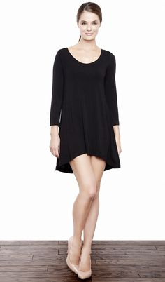 Charlotte High Low Tunic - Black - Amour Vert | eco-apparel
